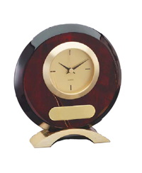 Round rosewood desk clock